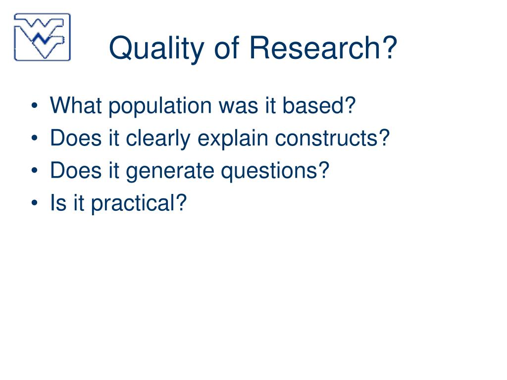 Quality of Research?