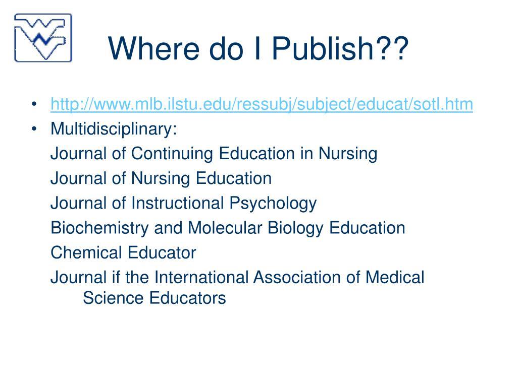 Where do I Publish??