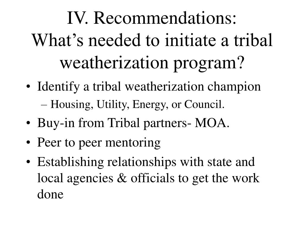 IV. Recommendations: