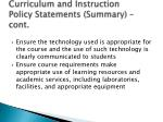 curriculum and instruction policy statements summary cont8