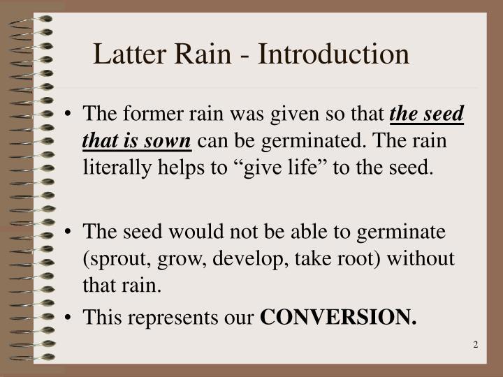 Latter rain introduction
