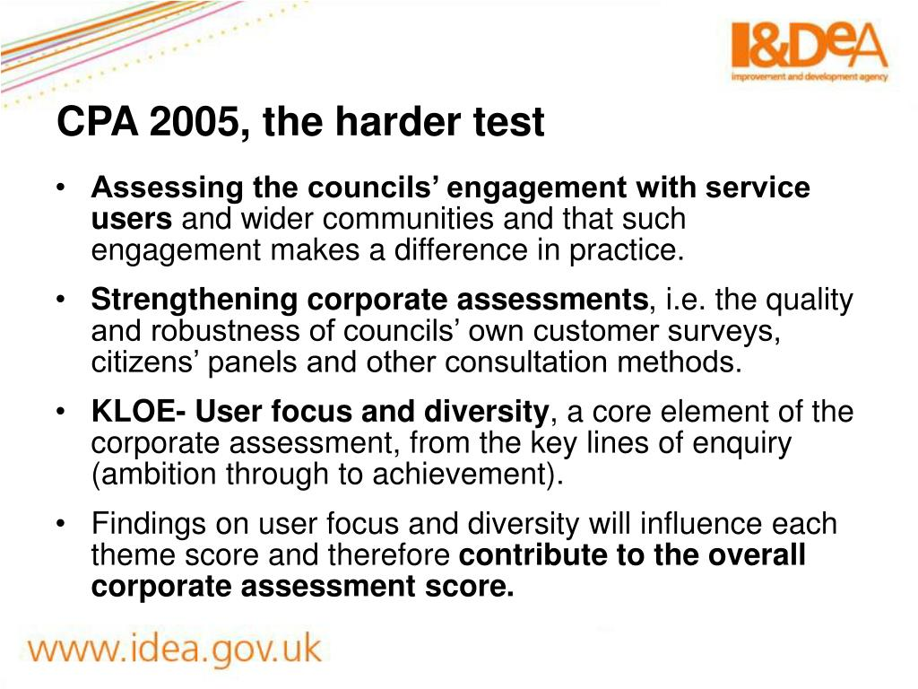 CPA 2005, the harder test
