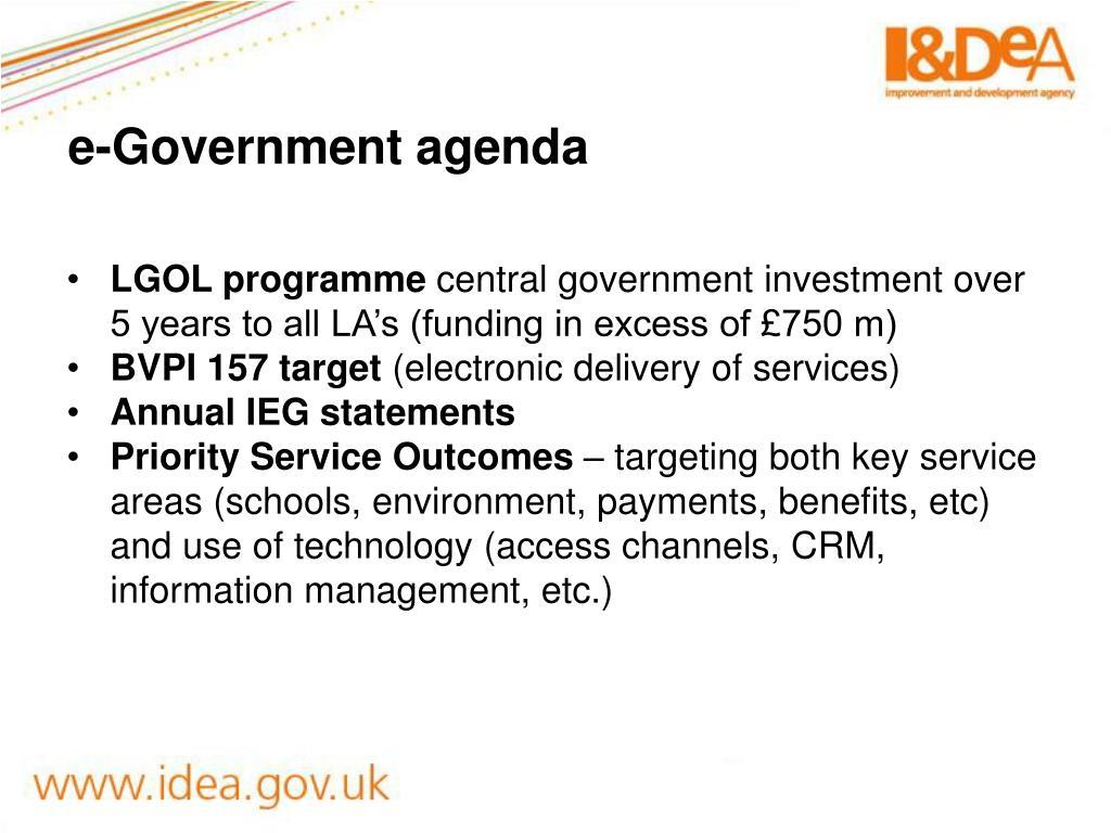 e-Government agenda