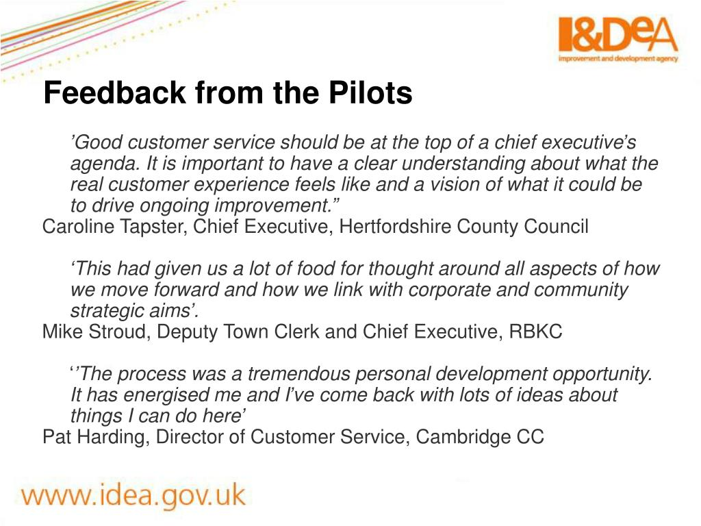 Feedback from the Pilots