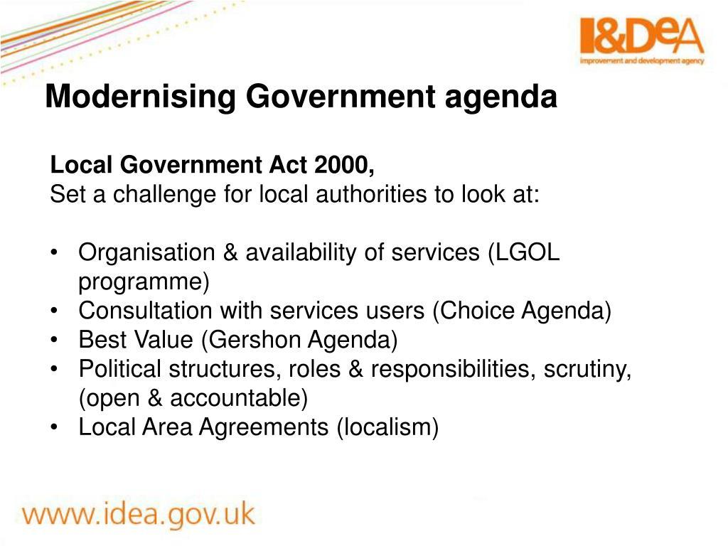 Modernising Government agenda