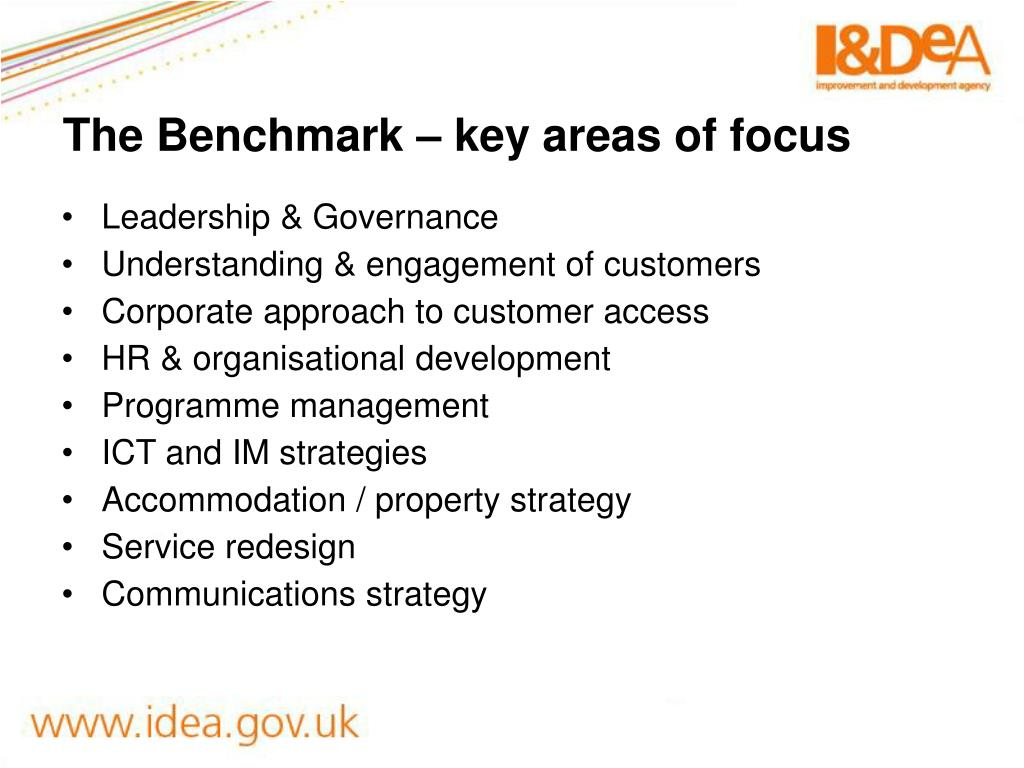 The Benchmark – key areas of focus
