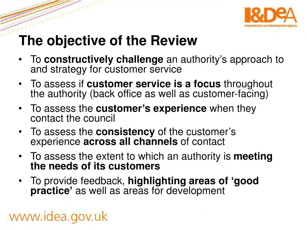 The objective of the Review