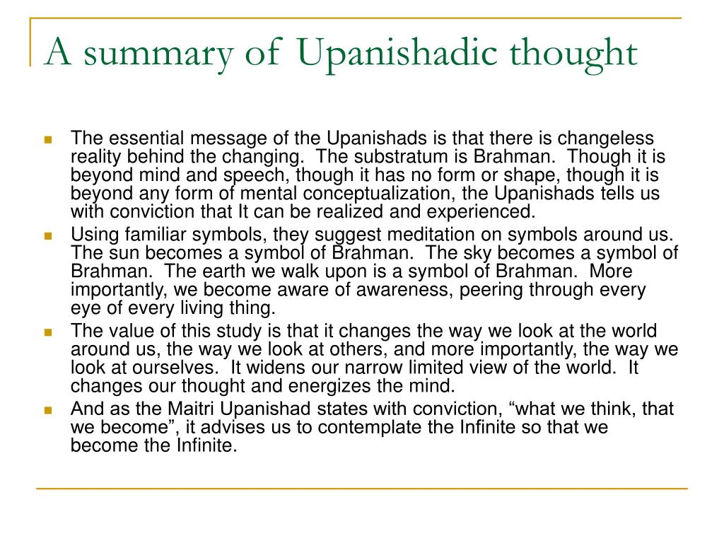 A summary of Upanishadic thought