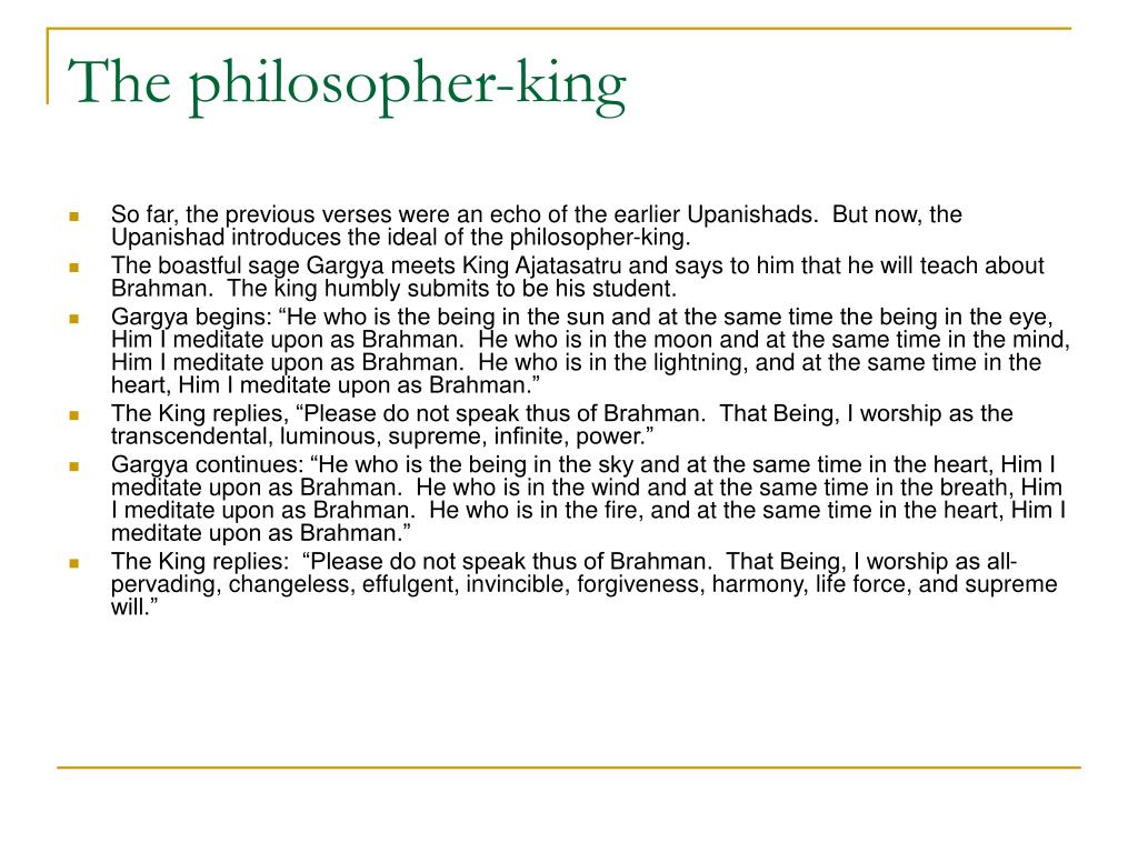 The philosopher-king