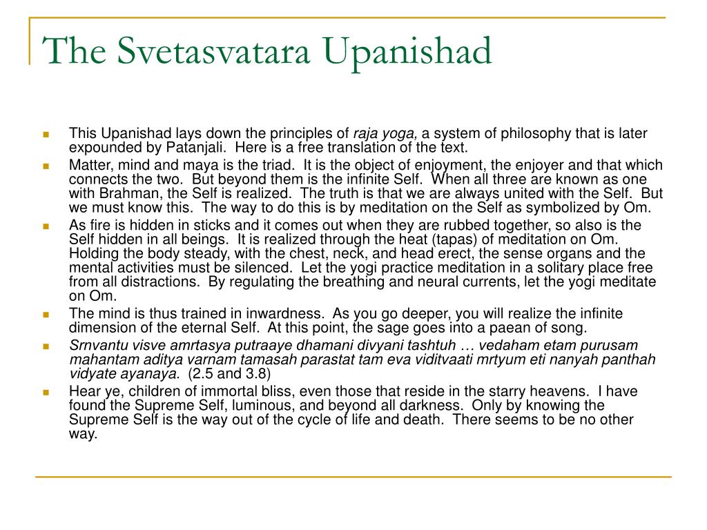 The Svetasvatara Upanishad