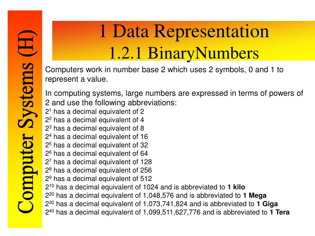 1 Data Representation