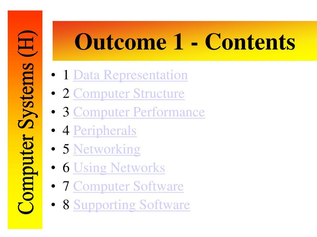 Outcome 1 - Contents