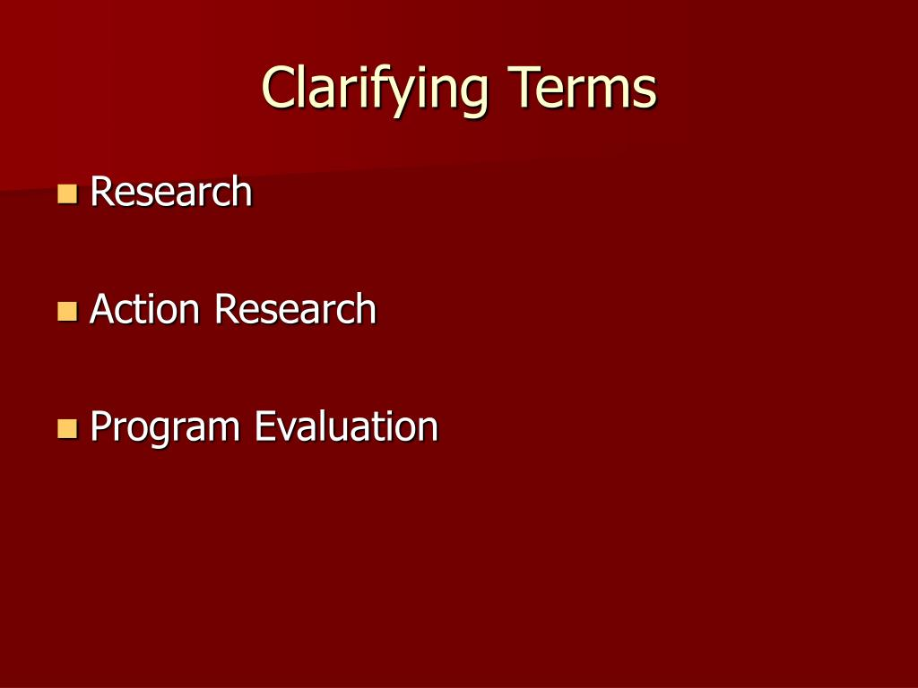 Clarifying Terms
