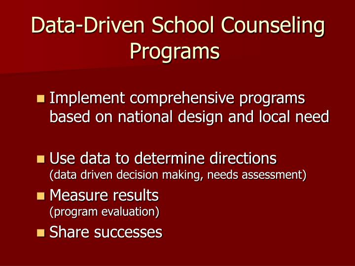 Data driven school counseling programs