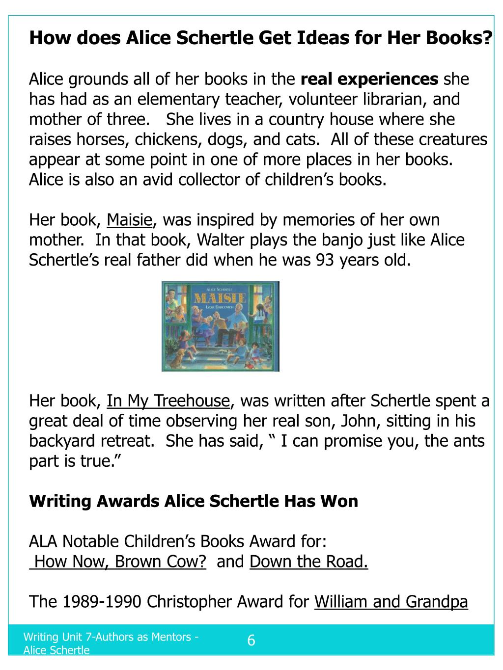 How does Alice Schertle Get Ideas for Her Books?