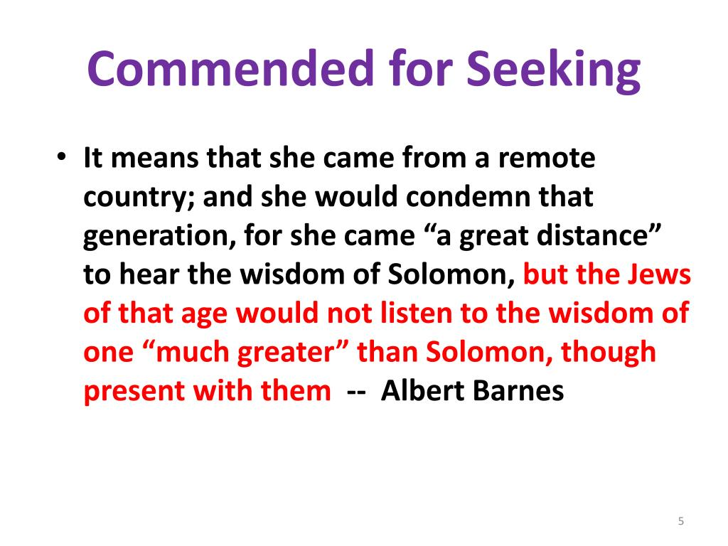 Commended for Seeking