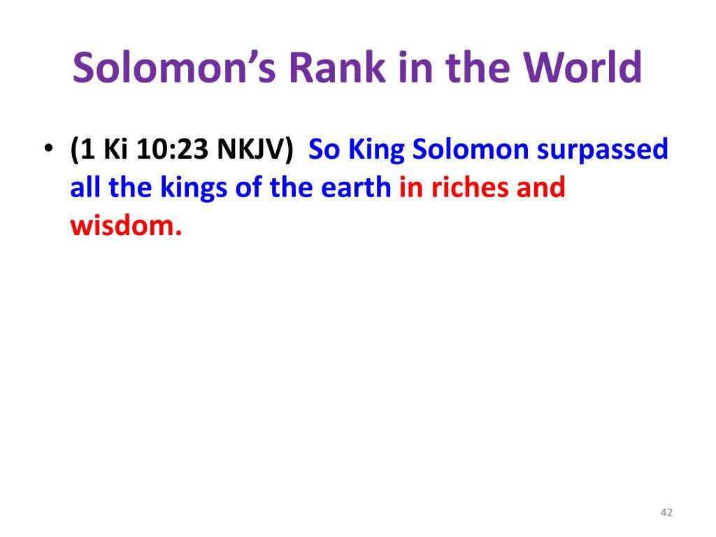 Solomon's Rank in the World