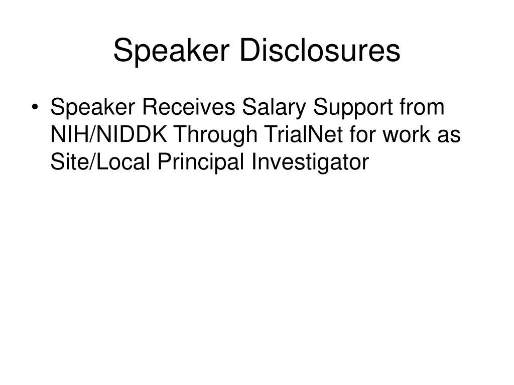 Speaker Disclosures