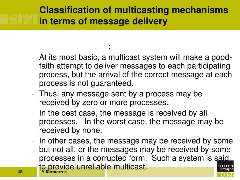 Classification of multicasting mechanisms in terms of message delivery