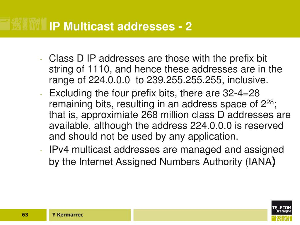 IP Multicast addresses - 2