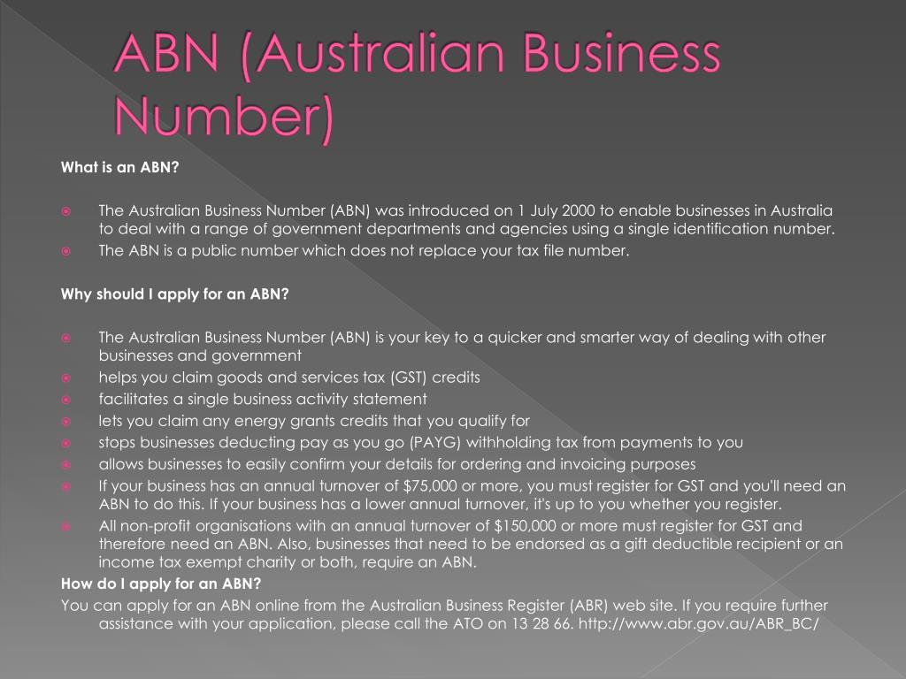ABN (Australian Business Number)