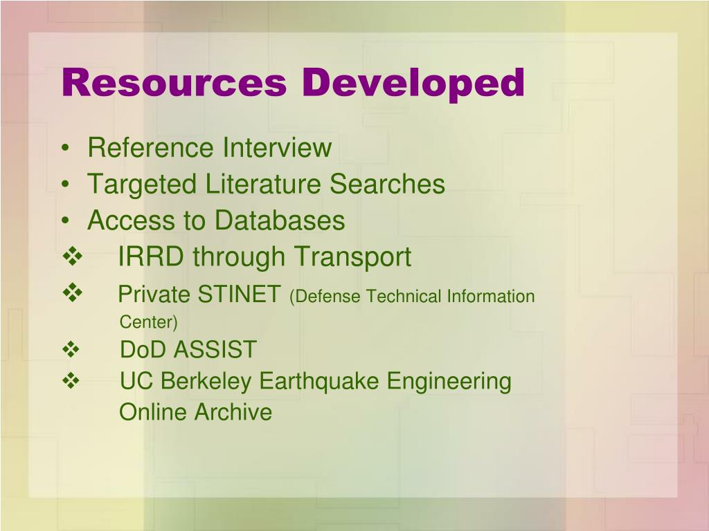 Resources Developed
