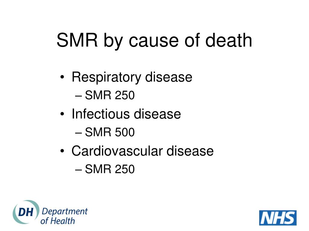 SMR by cause of death