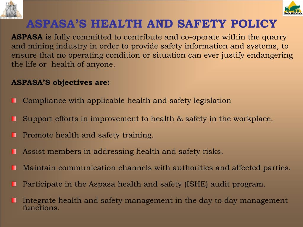 ASPASA'S HEALTH AND SAFETY POLICY