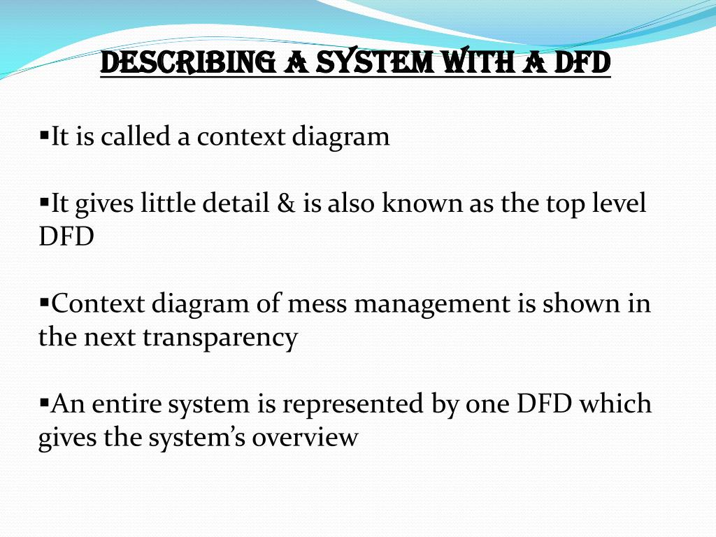 DESCRIBING A SYSTEM WITH A DFD