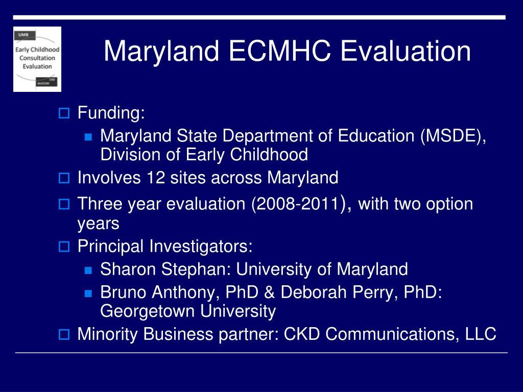 Maryland ECMHC Evaluation