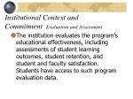 institutional context and commitment evaluation and assessment