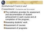 institutional context and commitment evaluation and assessment21