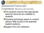 institutional context and commitment resources for learning