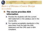 basics of distance course design accessibility