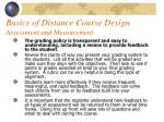 basics of distance course design assessment and measurement45