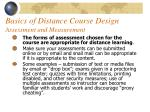 basics of distance course design assessment and measurement46