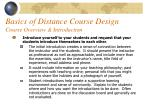 basics of distance course design course overview introduction37