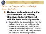 basics of distance course design course technology