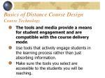 basics of distance course design course technology58