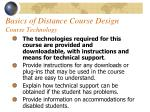 basics of distance course design course technology59
