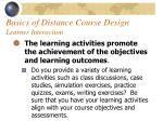 basics of distance course design learner interaction