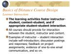 basics of distance course design learner interaction52