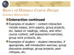 basics of distance course design learner interaction53