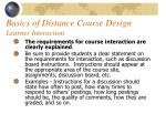 basics of distance course design learner interaction55
