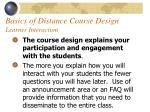 basics of distance course design learner interaction56