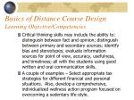 basics of distance course design learning objective competencies41