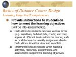 basics of distance course design learning objective competencies42