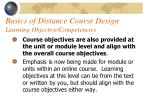 basics of distance course design learning objective competencies43