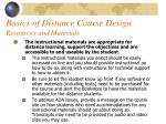 basics of distance course design resources and materials