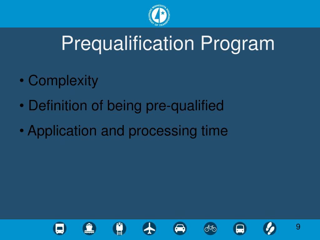 Prequalification Program